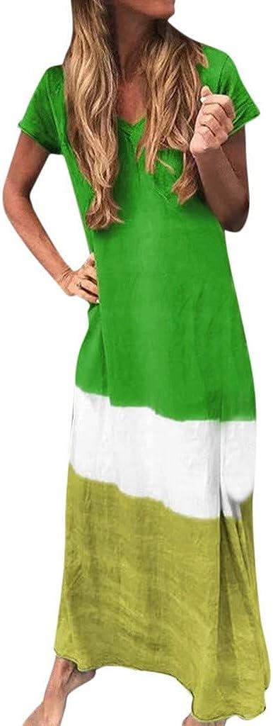 Reooly Fashion Vestido Largo y Falda de Manga Corta con Cuello en V Flojo de Gran tamaño para Mujer, teñido Diario, Color Degradado