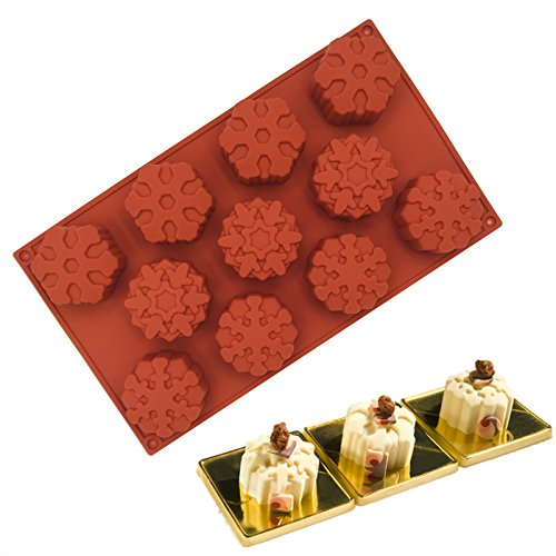Wocuz 11 Cavity Silicone Snowflakes Mold Non-Stick Baking Cake Mold Tray Chocolate Ice Muffins Soap for Thanksgiving Christmas Gift