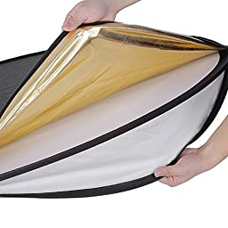 NEEWER 32-Inch 80CM Portable 5 in 1 Translucent, Silver, Gold, White, and Black Collapsible Round Multi Disc Light Reflector for Studio or any Photography Situation