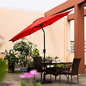 Ollieroo Patio Umbrella Tilt Aluminum 9FT Outdoor Market Umbrella With Crank 8 Steel Ribs and Wind Vent 100% Polyester (Red)