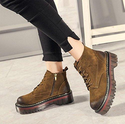 KUKI Herbst Frauen Stiefel Martin Stiefel dicken unteren Stiefel Damen einzigen Stiefel flachen Boden Spitze weiblichen Stiefel billig Frauen Stiefel leichte atmungsaktive Freizeitschuhe khaki