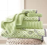 OV 6 Piece Green Floral Towel Set, French Country Jacquard Motif Chic Flower Theme Towels, Flowers Vines Leaf Pattern Soft Cozy Absorbent Wash Cloth Bath Solid Color Reversible Bathroom, Cotton