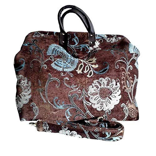 Tapestry Carpet Bag. Chocolate Brown Floral Crafted Chenille. Detachable Shoulder Strap. Great Weekender or Carry ()