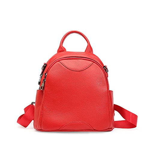 Shinging Small Backpack Kids Fashion Genuine Leather Handbags Small Bag Round 3 Optional Header Colors, Red Red