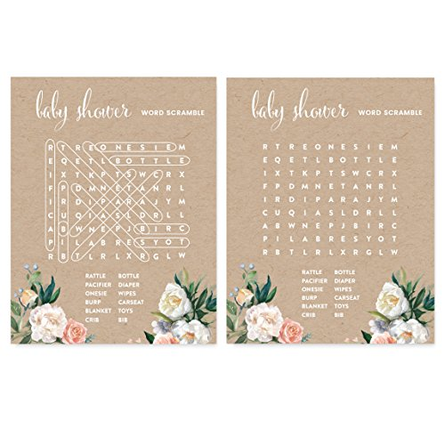 Andaz Press Peach Kraft Brown Rustic Floral Garden Party Baby Shower Collection, Word Search Baby Shower Game Cards, 20-Pack ()