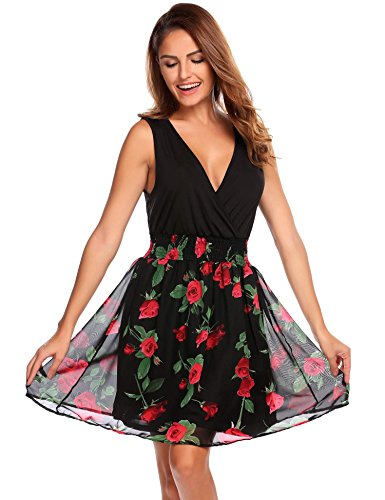 Zeela Women Sexy Wrap V-Neck Ruched Floral Patchwork Chiffon Casual Swing Dress Red M (Chiffon Floral Wrap)