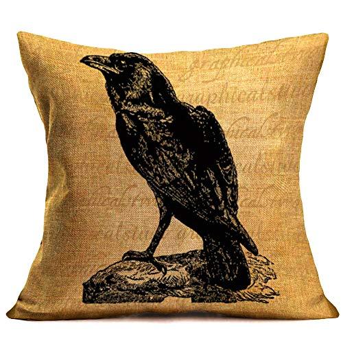 Throw Pillow Covers Halloween Crow Pillowcases Cotton Linen Retro Halloween Decorative Pillow Cover Sofa Waist Throw Cushion Cover 18