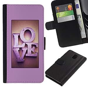 WINCASE Cuadro Funda Voltear Cuero Ranura Tarjetas TPU Carcasas Protectora Cover Case Para Samsung Galaxy Note 3 III - el amor de color rosa letras de texto púrpura miel pareja