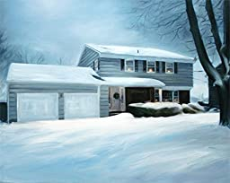 Christmas Cottage Art - Personalised House Portrait on Canvas From Photo - Photo to Painting