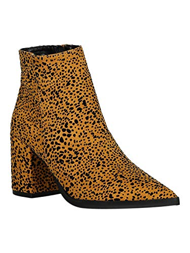 Women Wild Animal Print Pointy Toe Chunky Heel Ankle Boots RC36 - Camel/Black Leopard Faux Suede (Size: 8.0) (Animal Qupid Print)