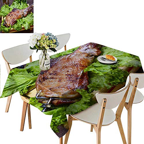 UHOO2018 Square/Rectangle Polyesters Tablecloth Roast Lamb Leg Wedding Party,50 x 72inch ()
