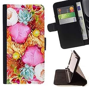 For HTC One Mini 2 M8 MINI Case , Rosadas amarillas Ramo Rosas Flores- la tarjeta de Crédito Slots PU Funda de cuero Monedero caso cubierta de piel
