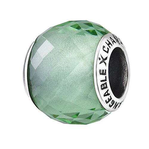 Murano Glass Charms Beads for Bracelets, Peridot Green, 925 Sterling Silver (Small Birthstone Stone)