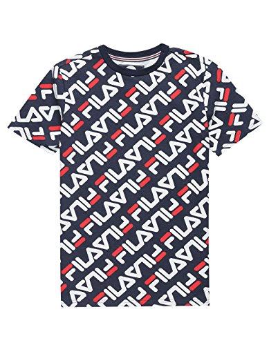 FILA Logo Print Boys T-Shirt, Navy Combo, Small