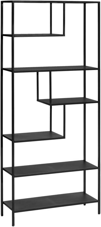 Estantería librería de Metal Negra Industrial de 180x26x80 cm ...