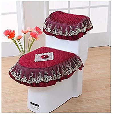 WSHINE Home Decor Pleuche Lace Toilet Accessories Tank Cover + Lid Cover + Toilet Seat Cover, Set of 3