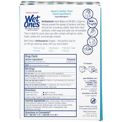 511TqOOxJnL - Wet Ones Antibacterial Hand Wipes Singles, Fresh Scent, 48 Count