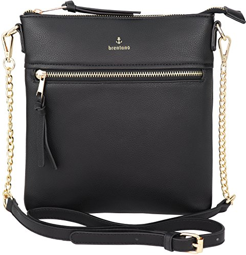 - Vegan Double-Zipper Crossbody Bag with Chain Strap (Black)