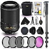 """Nikon Auto Focus-S DX NIKKOR 55-200MM f/4-5.6G ED VR II Lens for NIKON DSLR Cameras + 52MM Lens Filter Accessory Bundle Kit (UV FLD CPL ND) + 72"""" Monopod + Lens Hood + Lens Cleaning Tools Kit"""