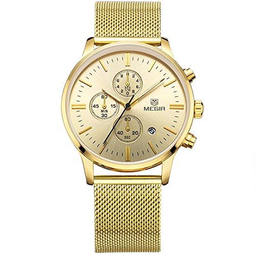 Mens M2011GG Stainless Steel Calender Alloy Business Formal Quartz Wrist Watch for Man Gold
