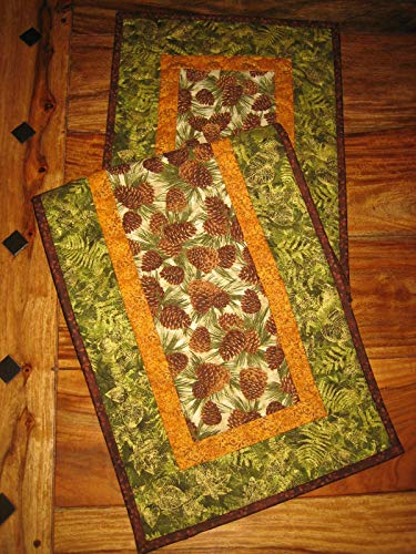 Quilted Table Runner Pine Cones and Leaves Reversible 13 x 48 in.