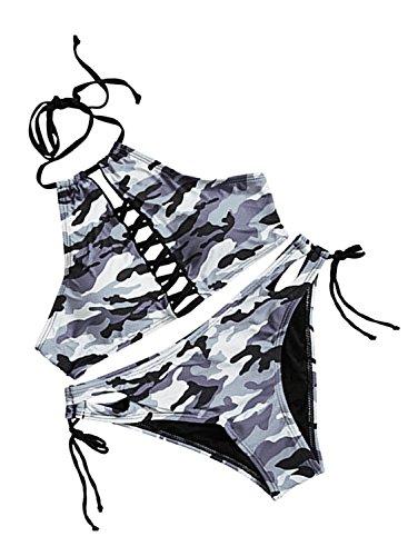 Futurino Women's Crisscross Front Halter Geometric Patterns Bikini Sets Swimsuit (M, Grey Camouflage) ()