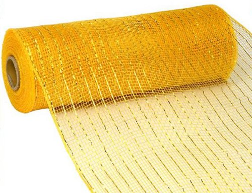10 inch x 30 feet Deco Poly Mesh Ribbon - Metallic Yellow Gold: RE130153
