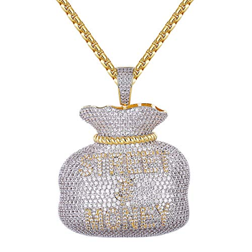 Master Of Bling Hip Hop 3D Street Dollar Money Bag Iced Out Rich Cash Custom Pendant