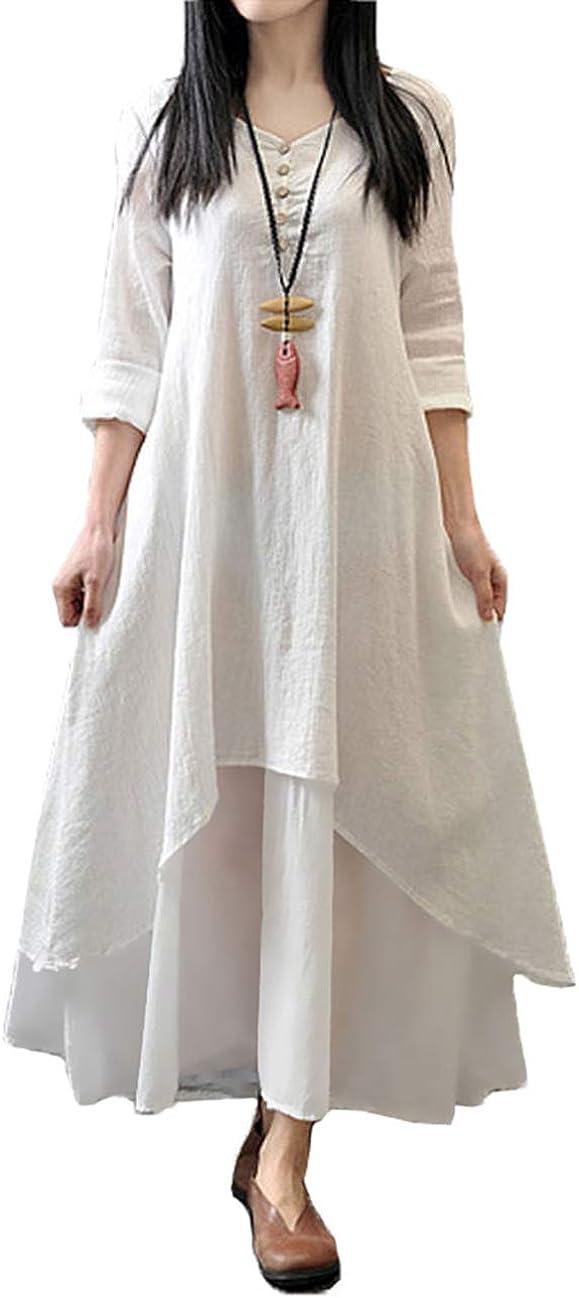 TALLA 4XL. Romacci Vestido Suelto Vestido Ocasional de Las Mujeres Manga Larga Sólida Maxi Vestido Largo de Boho Blanco 4XL