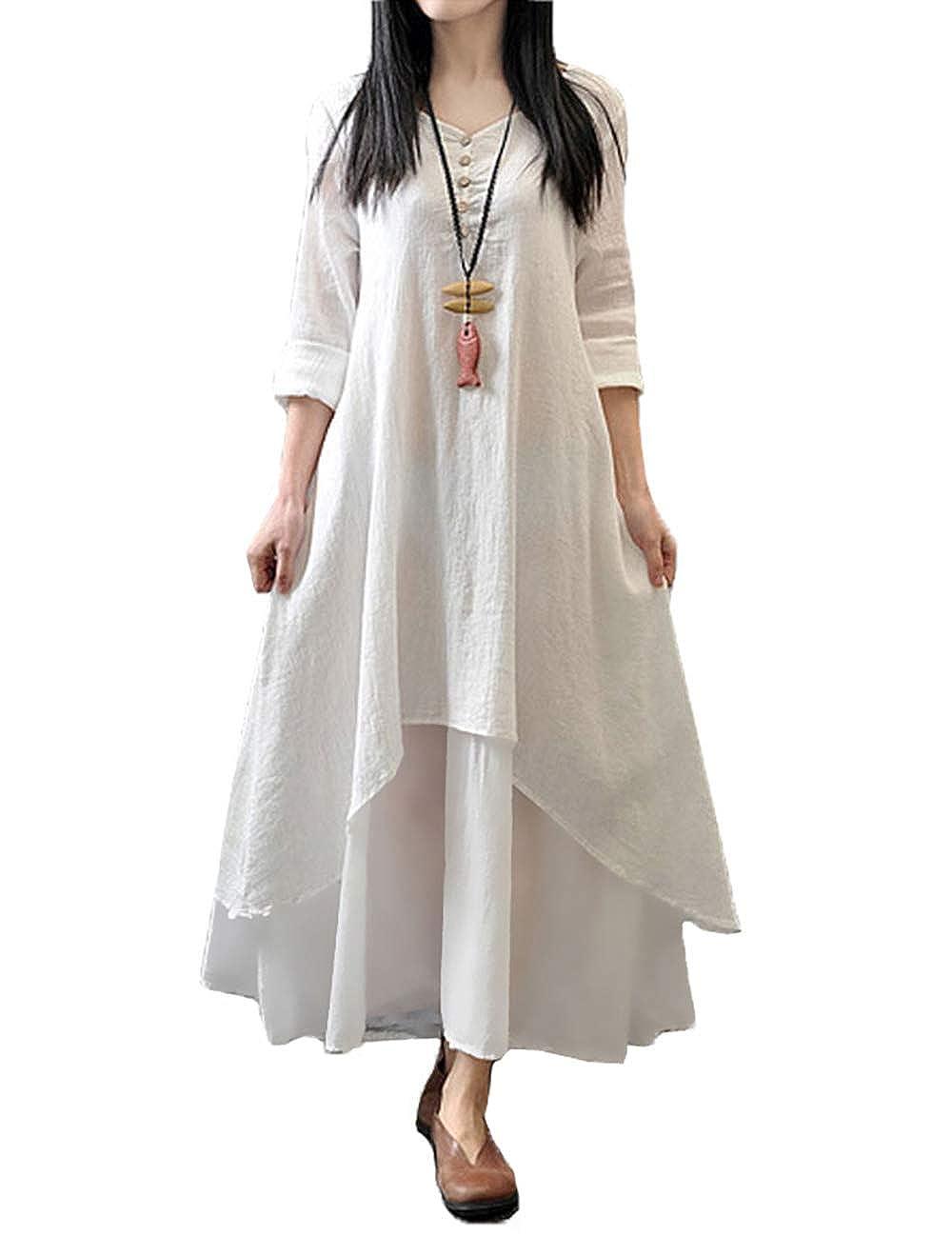 TALLA L. Romacci Vestido Suelto Vestido Ocasional de Las Mujeres Manga Larga Sólida Maxi Vestido Largo de Boho Blanco