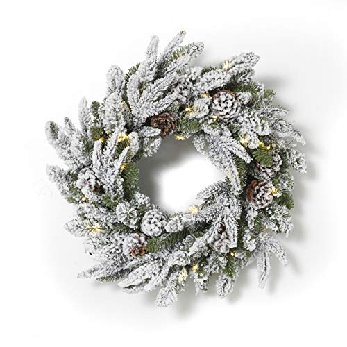 - Gerson 24 Inch Lighted Wreath - Flocked with Pine Cones - 30 LED's Battery Operated