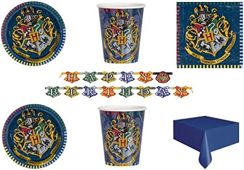 Party Store web by casa dolce casa Harry Potter - Juego de Mesa de Fiesta de Harry Potter con 8 Platos, 8 Vasos, 16 servilletas, 1 Mantel Monocolor, 1 Guirnalda: Amazon.es: Juguetes y juegos