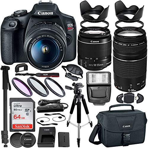 Canon EOS Rebel T7 DSLR Camera with EF-S 18-55mm is II & EF 75-300mm III Canon Lenses + Premium Bundle