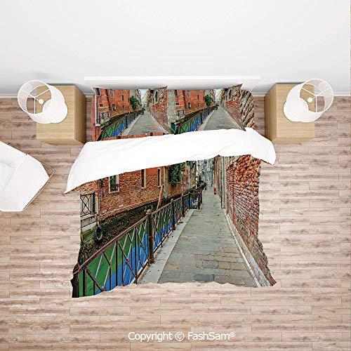 (FashSam Duvet Cover 4 Pcs Comforter Cover Set Empty Idyllic Streets of Venezia Travel Destination Romantic Vacation Old Buildings for Boys Grils Kids(King))