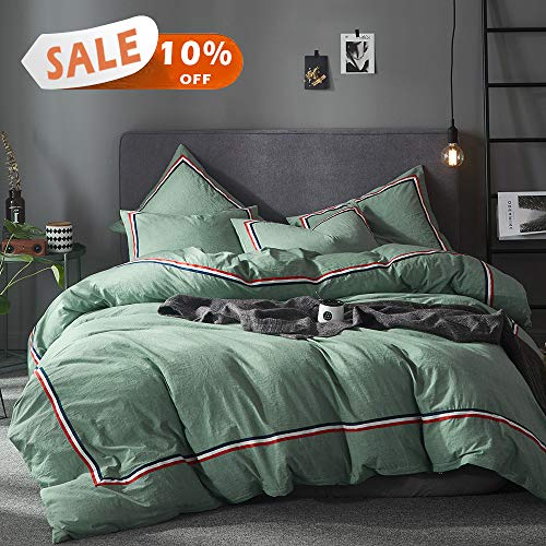 Joyreap 3 Pieces Duvet Cover Set, Premium Washed Cotton, Solid Colors with Tricolor Stripes,1 Duvet Cover with Zipper n 2 Pillowcases, Ultra Soft, Breathable Hypoallergenic (Dark Green, Queen)
