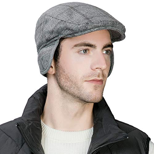 Comhats Winter Trapper Hat Men Wool Newsboy Ivy Cap Earflap Golf Cabbie Driver Flat Duckbill Irish Hats Hunting Snow Women Grey