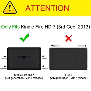 "Fintie Folio Case for Kindle Fire HD 7"" (2013 Old Model) - Slim Fit Folio Case with Auto Sleep / Wake Feature (will only fit Amazon Kindle Fire HD 7, Previous Generation - 3rd), Black"