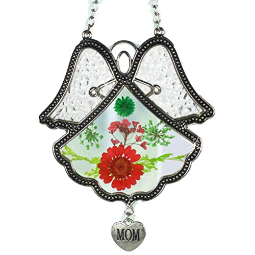BANBERRY DESIGNS Mom Suncatcher - Glass Angel with Pressed Flowers and a Silver Mom Charm - Mother Sun Catcher - Stained Glass Angel