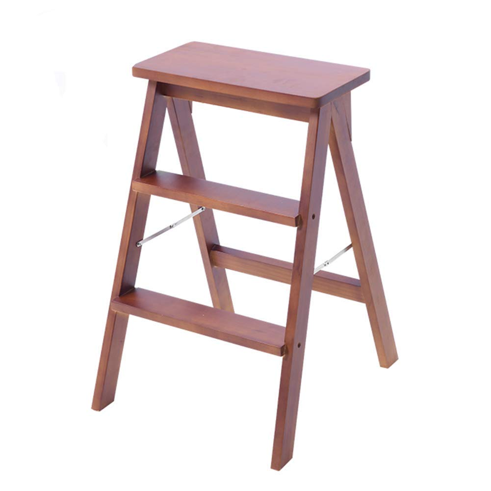 Walnut color Comfortable Lounge Chair Wooden Folding Step Stool, Indoor Multi-functi 3-Step Ladder Ascending Stairs Stool,color Optional (color   RED) (color   Walnut color)