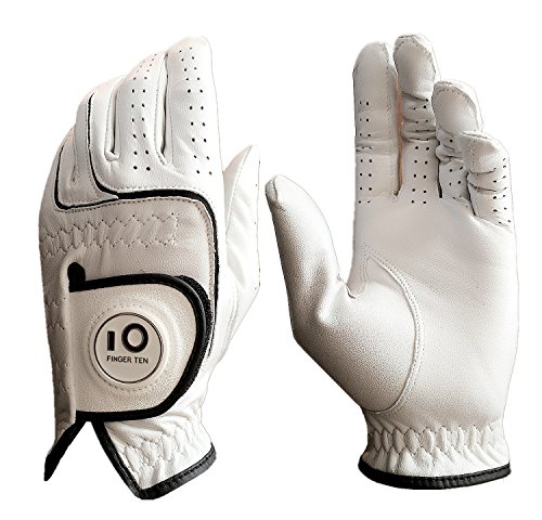 Men Golf Gloves Left Hand XXL Pack, Cabretta Leather with Ball Marker, Cadet Medium Large XL 2XL, Grip Durable Fit Left Hand, By Finger Ten - 2014 Offers Usa Thanksgiving