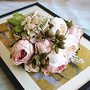 Silk Flower Arrangements Shine-Co Artificial Peony Silk Flowers Bouquet Glorious Moral for Home Office Decoration and Weddings(light pink)