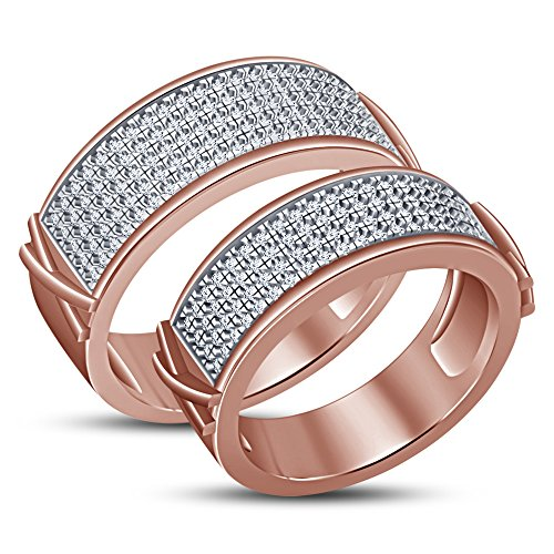 TVS-JEWELS Love Combine Promise Couple Ring W/ 14k Rose Gold Plated 925 Sterling Silver by TVS-JEWELS