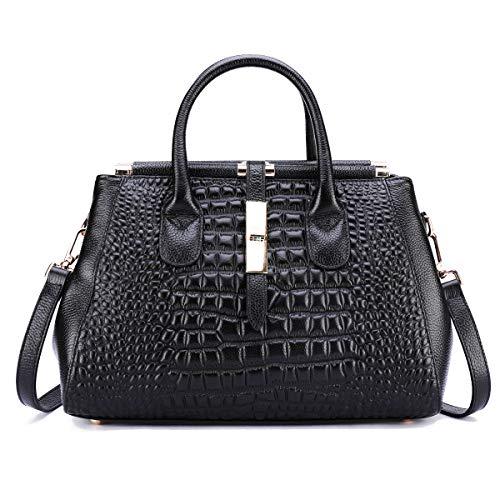 Leather Handbags for Women Vintage Purse Messenger DAIZU Genuine Cowhide Tote Bag(black) ()