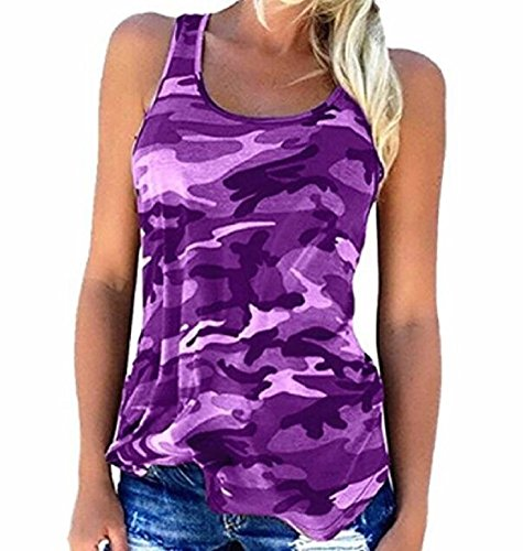 Camouflage Shirt Top (Rexury Women's Casual Sleeveless Camouflage Tank Tops Vest Camo Shirts Plus Size)