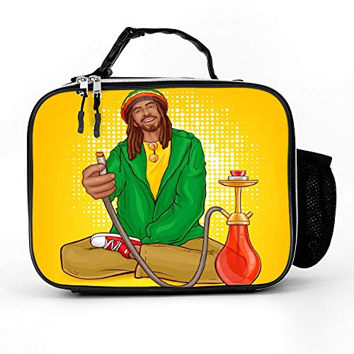 Welkoom Lunch Bag Insulated Lunch Box - Tough & Spacious Adult Lunchbox To Seize Your Day (Pop Art Rastafarian Guy Suggests Hookah - Lunch Bags For Men, Adults, Women)]()
