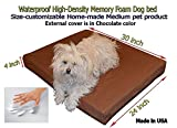 Home-made Waterproof Customizable 30″x24″x4″ Memory Foam Brown Dog Bed For Sale