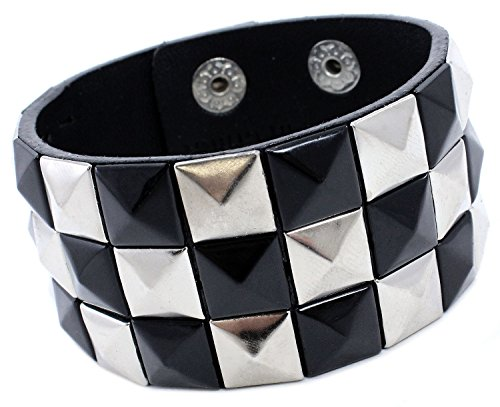 Enimay Studded Leather Punk Bracelet Unisex Snap On Checkered Metal Rock Wristband Black ()