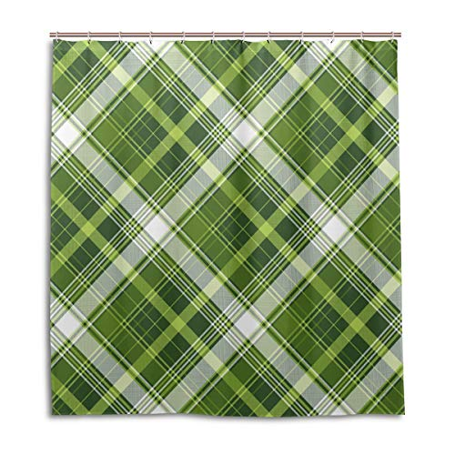 Amanda Billy Green Plaid Checkered Pattern Natural Home Shower Curtain, Beaded Ring, Shower Curtain 72 x 72 Inches, Modern Decorative Waterproof Bathroom Curtains