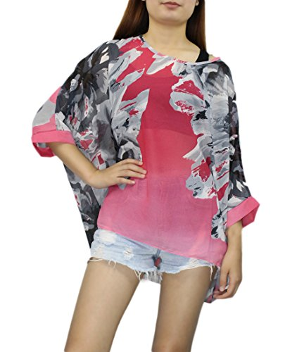 de Plage Souris Chauve Maillots Bain Hippie 3 Blouse Manche 4 Top Chic Up Kimono Caftan de Tunique Imprimee Femme Mode Haut Soie Cover Floral Boheme en Bikini Multicolore 25 Beachwear de Chemise Mousseline Cache Cw1q1a