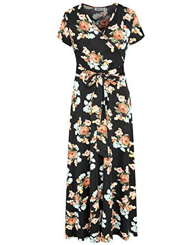Aphratti Women's Bohemian Casual Short Sleeve V Neck Faux Wrap Floral Maxi Dress X-Large Black